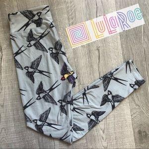 LuLaRoe SOFT Women's Leg Gray Swallow Bird Print